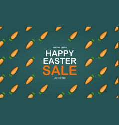 easter sale poster template with 3d cute carrot vector image
