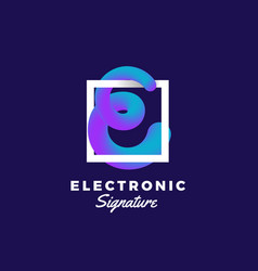 Electronic signature abstract blend curve vector