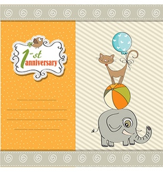 first anniversary card with pyramid of animals vector image