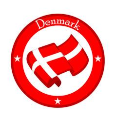 Flag of denmark on a label vector