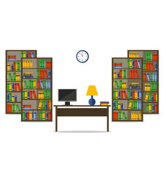 flat bookcases and desk inside house or office vector image