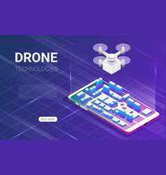 Flat isometric drone delivery background vector