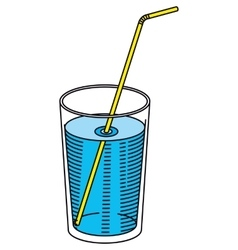 Glass of Water with a Straw vector