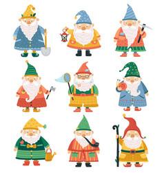 gnome characters cartoon garden dwarf cute beard vector image