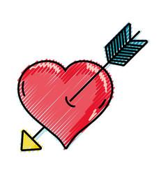 Grated arrow inside romantic heart design vector