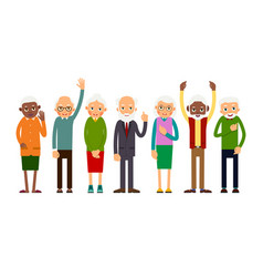 group of gesticulating elderly people vector image