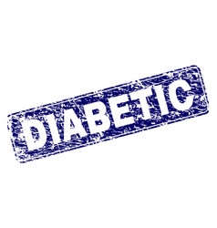 Grunge diabetic framed rounded rectangle stamp vector