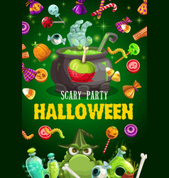 halloween candies potion cauldron and zombie hand vector image
