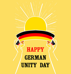 Happy german unity day vertical banner hand drawn vector