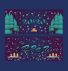 happy new year 2020 christmas holidays banner vector image