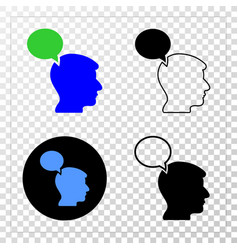 head thinking cloud eps icon with contour vector image