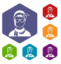 hipster woman icons set vector image