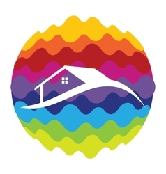Home Rainbow Color Icon for Mobile Applications vector