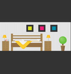 hotel room interior in flat style vector image