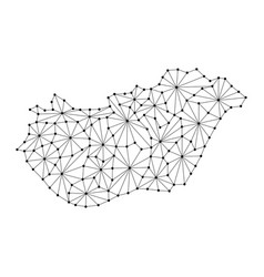Hungary map of polygonal mosaic lines network ray vector