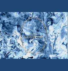 ink marble blue golden grunge texture vector image
