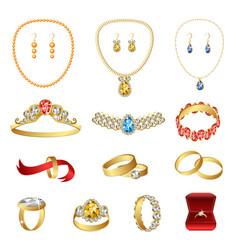 Jewellery icons set cartoon style vector