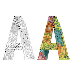 Letter a zentangle for coloring decorative vector