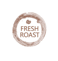 lettering fresh roast with pair of coffee beans in vector image