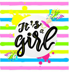 linscription of phrase its a girl with pink nipple vector image