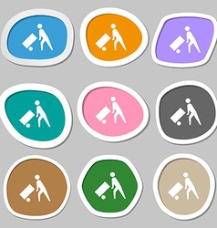 Loader icon symbols Multicolored paper stickers vector image