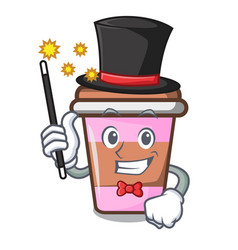Magician coffee cup mascot cartoon vector