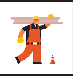 male builder carpenter carrying planks workman in vector image