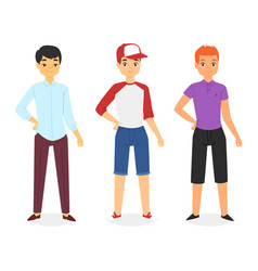man look fashion character clothing boy vector image