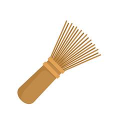 Matcha tea whisk icon flat style vector