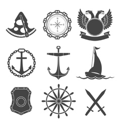 Nautical labels icons and design elements vector