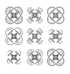 nine styles drones or quadrocopters icons vector image