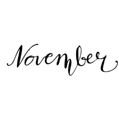 November hand drawn lettering card vector