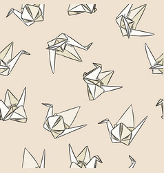 Origami paper swand hand drawn seamless pattern vector