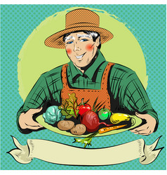 pop art of happy farmer with vector image
