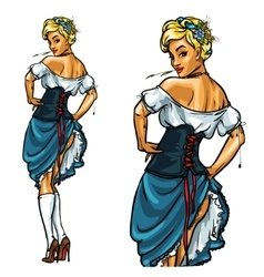 Pretty Bavarian girl Oktoberfest Pin Up vector