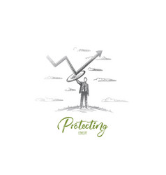 protecting concept hand drawn isolated vector image