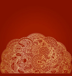 red asian background with golden dragon ornament vector image