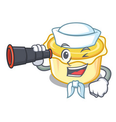 Sailor with binocular egg tart mascot cartoon vector