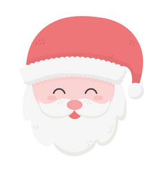 santa claus face stars snow merry christmas card vector image