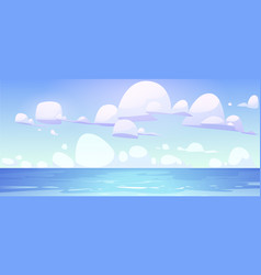 sea landscape with calm water surface and clouds vector image