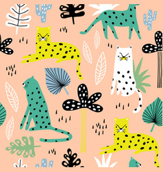 seamless pattern with leopards palm branch and vector image
