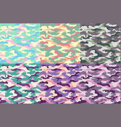 set camouflage seamless patterns unusual vector image