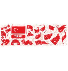 set national flag turkey in vector image