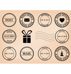 Set - post stamps vector