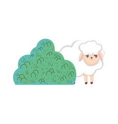 Sheep bush nature cartoon design vector