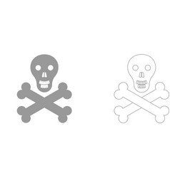 skull and bones set icon vector image