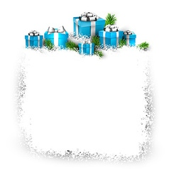 Snow frame with blue gift boxes vector