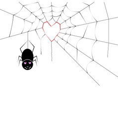 Spider making a heart web vector