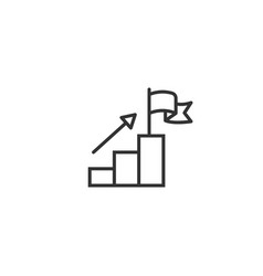 Stair with finish flag icon in flat style vector
