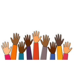 stop racism black lives matter raised up hands of vector image